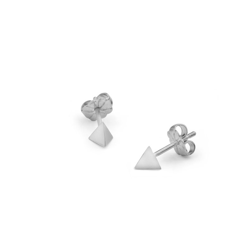 TETRAHEDRON STUD EARRINGS - SILVER - product images  of