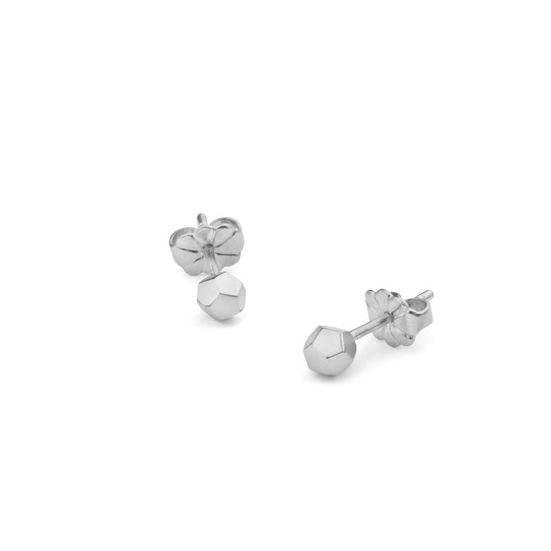 DODECAHEDRON STUD EARRINGS - SILVER - product image
