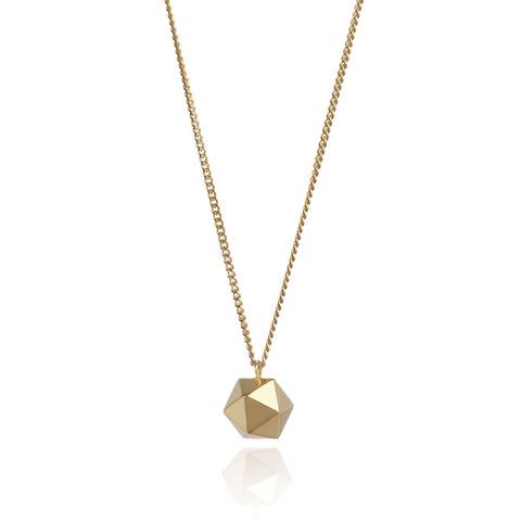 ICOSAHEDRON,PENDANT,-,GOLD,PLATONIC SHAPES, GOLD NECKLACE, PLATONIC, ICOSAHEDRON, ICOSAHEDRON NECKLACE, PLATONIC SHAPE NECKLACE, PLATONIC SHAPE, GOLD PLATONIC, MYIA BONNER,