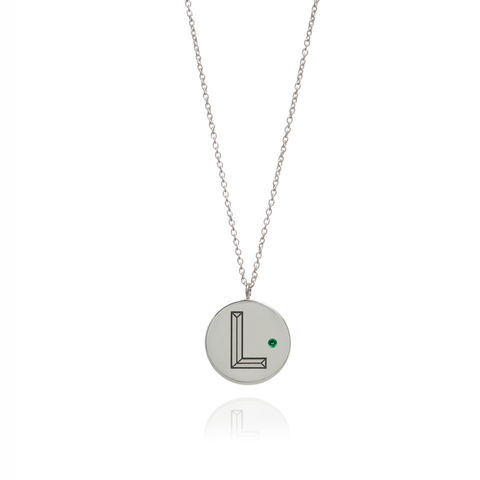 FACETT,INITIAL,NECKLACE,-,SILVER,WITH,EMERALD,/,PERSONALISED