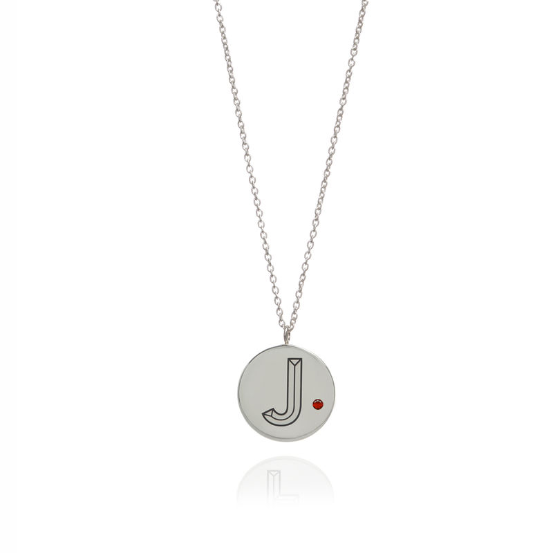 FACETT INITIAL NECKLACE -SILVER WITH RUBY / PERSONALISED  - product image