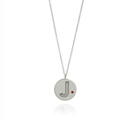 FACETT,INITIAL,NECKLACE,-SILVER,WITH,RUBY,/,PERSONALISED