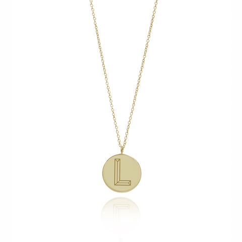 FACETT,INITIAL,NECKLACE,-,18CT,GOLD,/,PERSONALISED
