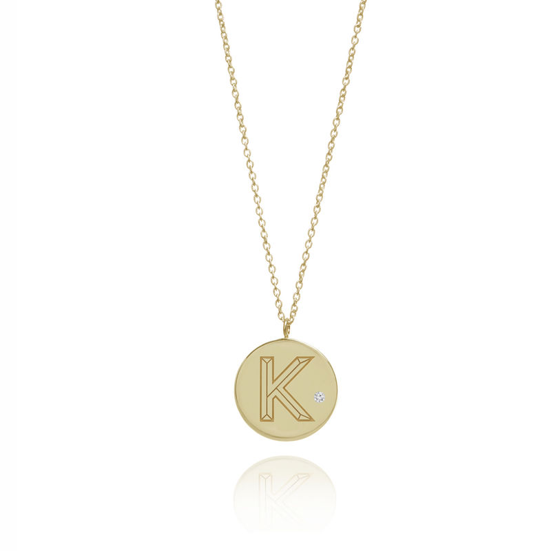 FACETT INITIAL NECKLACE -GOLD WITH DIAMOND / PERSONALISED  - product image