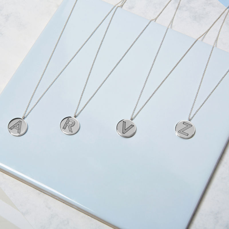 FACETT INITIAL NECKLACE -SILVER WITH DIAMOND / PERSONALISED  - product image