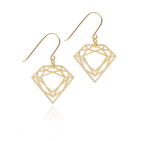 CLASSIC,DIAMOND,DROP,EARRINGS,-,GOLD,diamond earrings, diamond inspired jewellery, queen of diamonds, myia, drop earrings, gold earrings, classic diamond, gold vermeil, gold drop earrings, hook earrings, london jewellery, london based designer