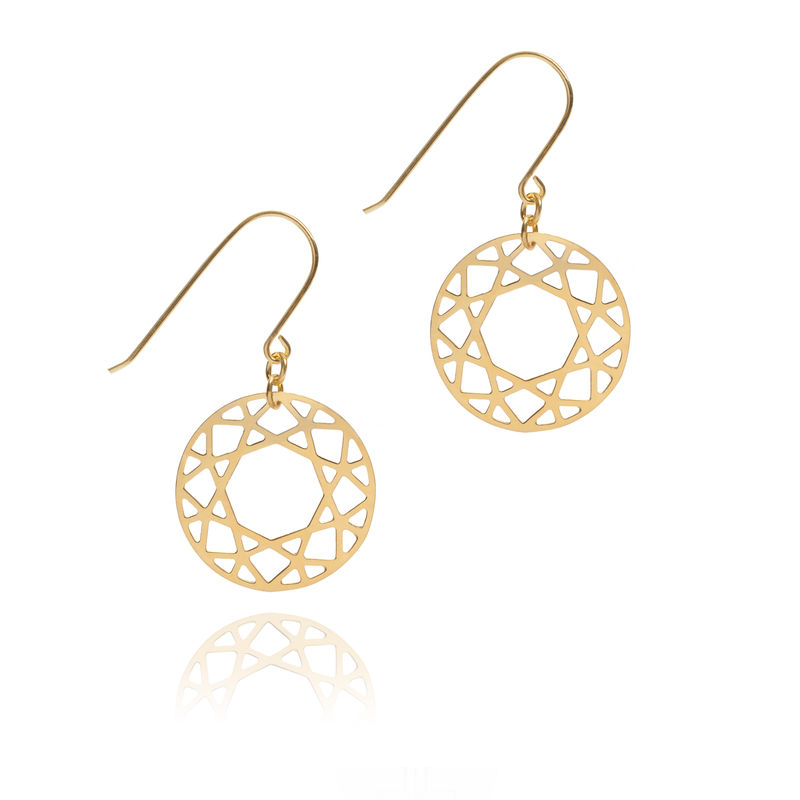 BRILLIANT DIAMOND DROP EARRINGS - GOLD - product images  of