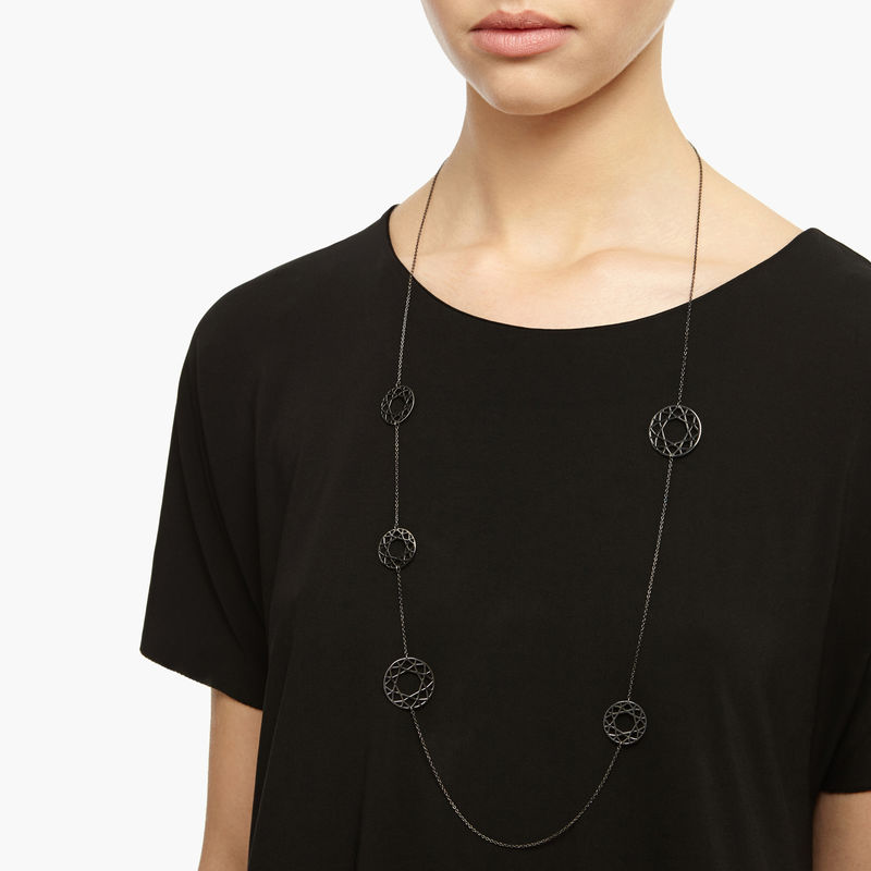 MULTI-BRILLIANT DIAMOND NECKLACE - BLACK - product images  of