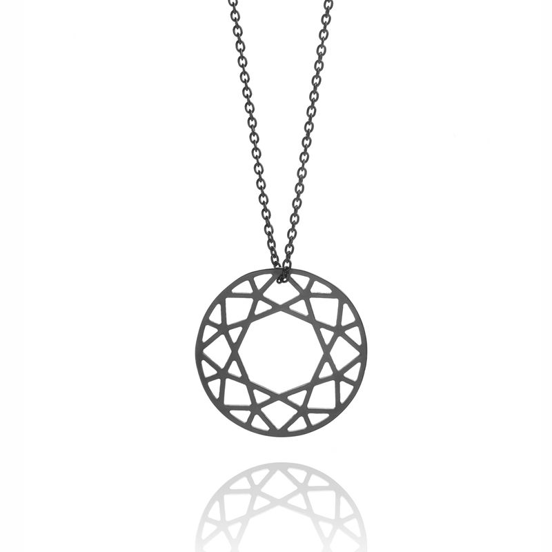 MEDIUM BRILLIANT DIAMOND NECKLACE - BLACK - product images  of