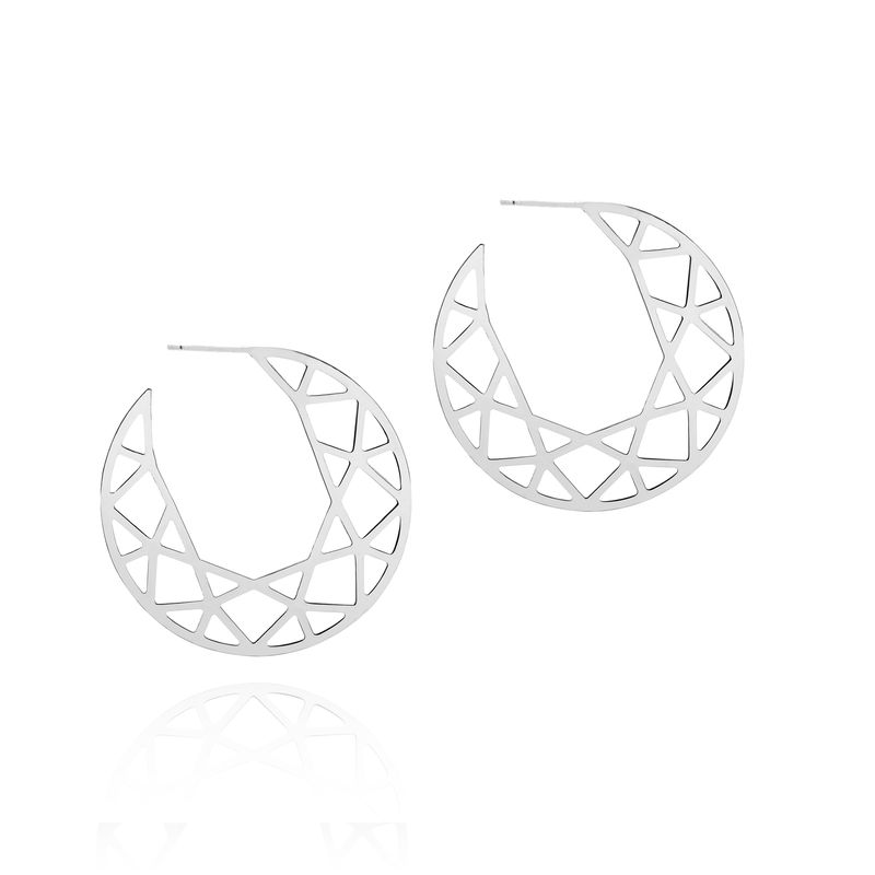 LARGE BRILLIANT DIAMOND HOOP EARRINGS - SILVER - product images  of