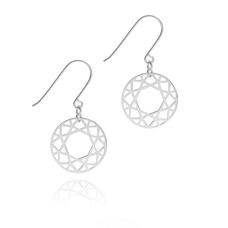 BRILLIANT DIAMOND DROP EARRINGS - SILVER - product images  of