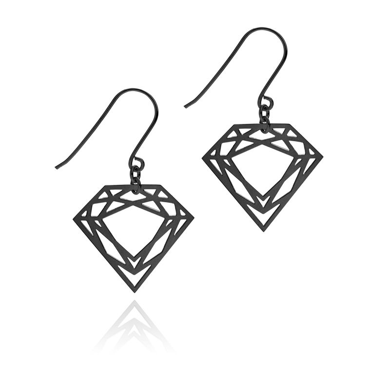 CLASSIC DIAMOND DROP EARRINGS - BLACK - product image
