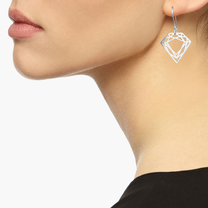 CLASSIC DIAMOND DROP EARRINGS - SILVER - product images  of