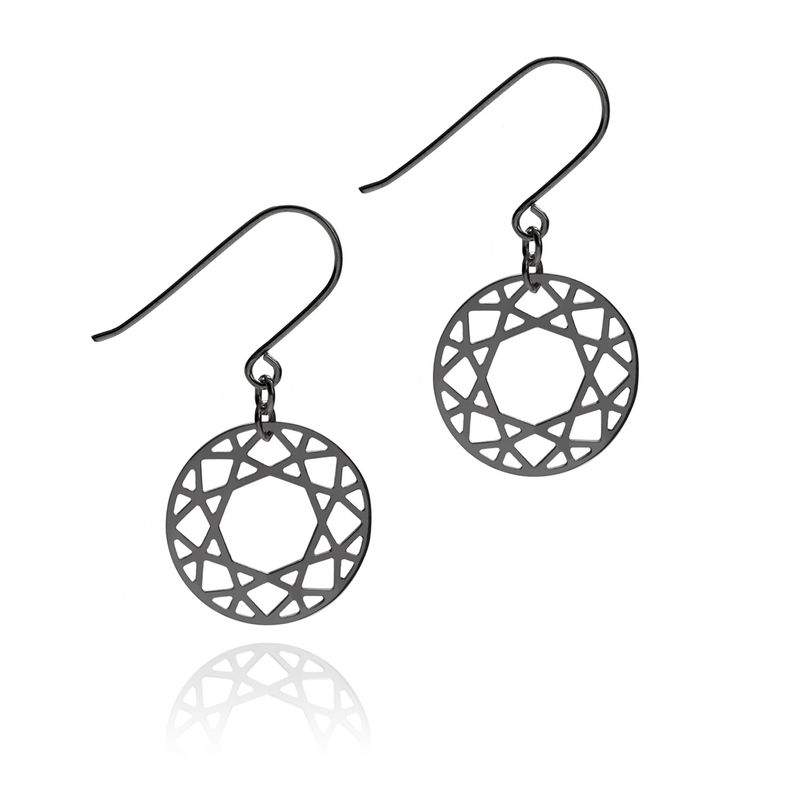 BRILLIANT DIAMOND DROP EARRINGS - BLACK - product images  of