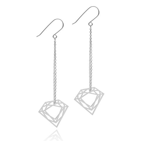 CLASSIC,DIAMOND,CHAIN,EARRINGS,-,SILVER
