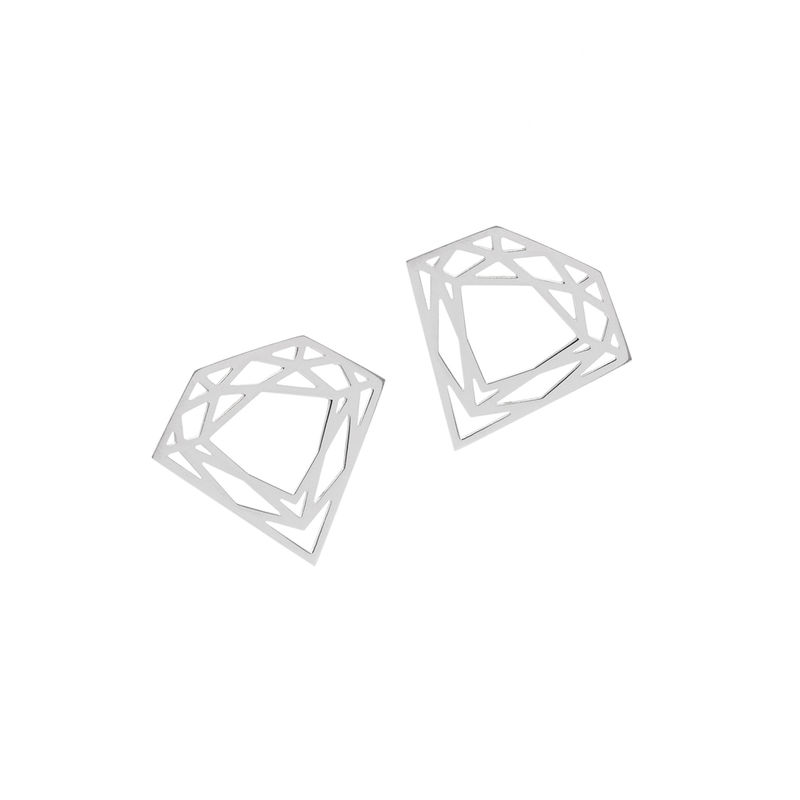CLASSIC DIAMOND STUD EARRINGS - SILVER - product image