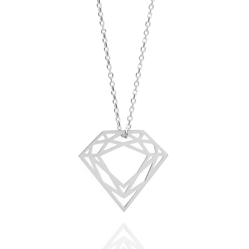 CLASSIC DIAMOND NECKLACE - SILVER - product images  of