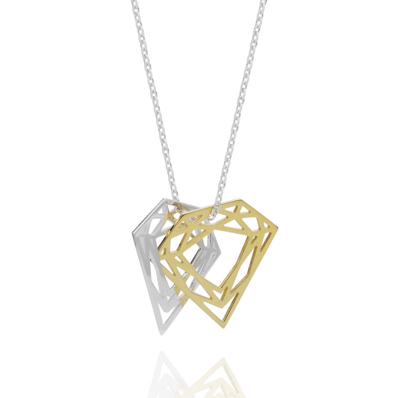 DOUBLE DIAMOND NECKLACE - SILVER & GOLD - product images  of