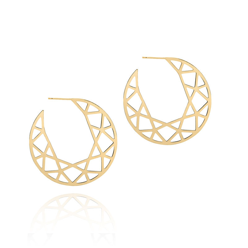 LARGE BRILLIANT DIAMOND HOOP EARRINGS - GOLD - product image