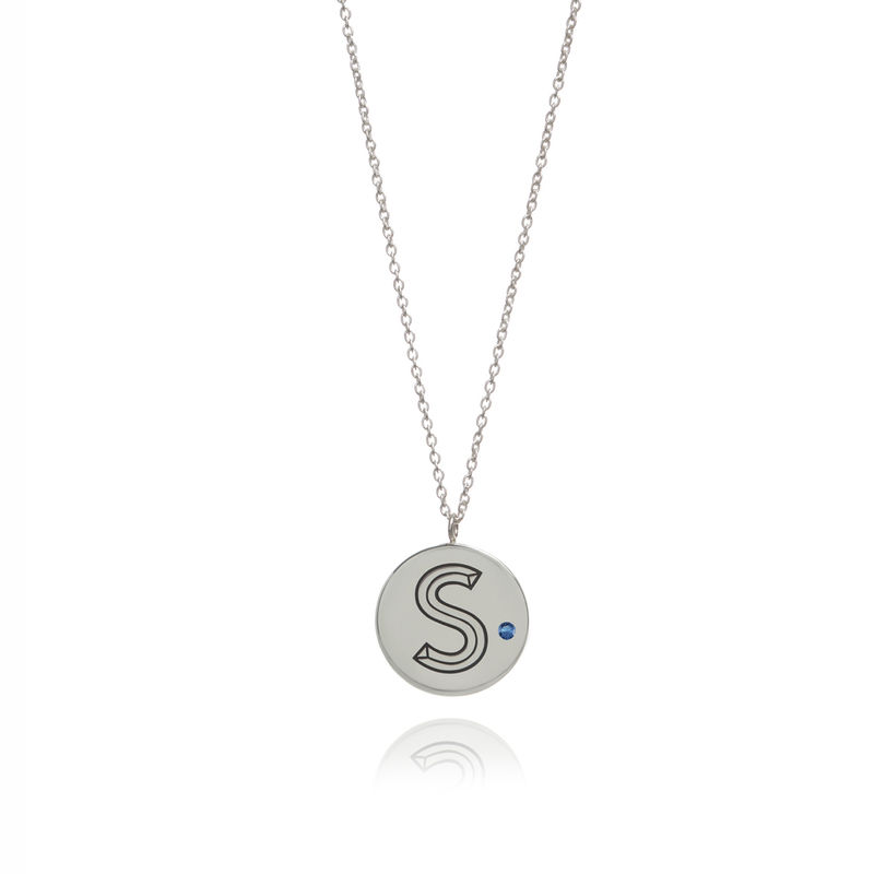 FACETT INITIAL NECKLACE -SILVER WITH SAPPHIRE / PERSONALISED  - product image