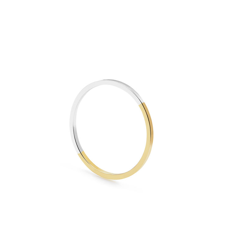TWO-TONE ULTRA SKINNY SQUARE STACKING RING - YELLOW GOLD - product image