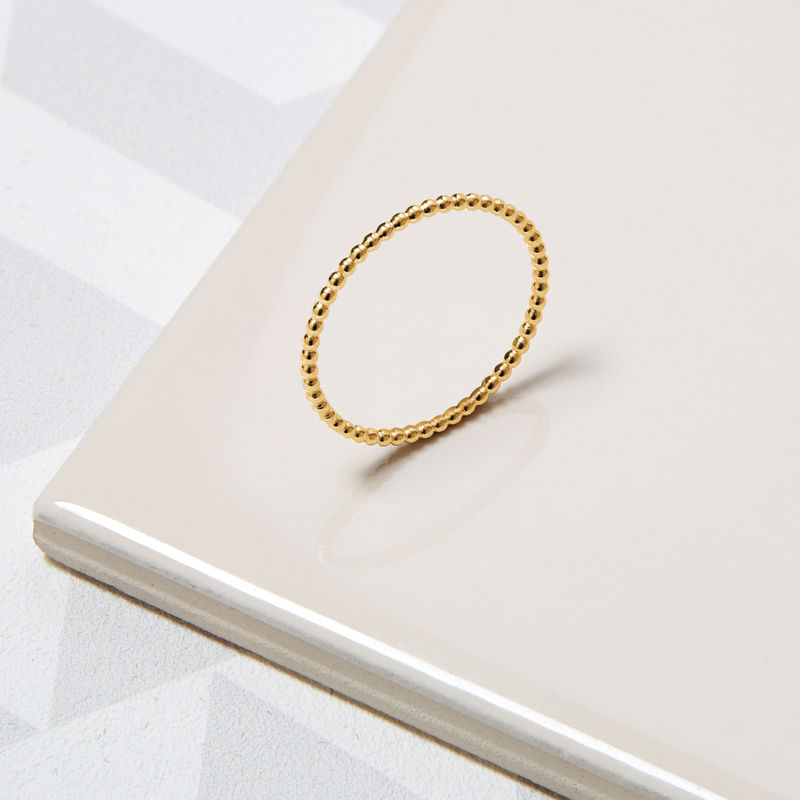 SKINNY BALL STACKING RING - 9CT YELLOW GOLD - product images  of