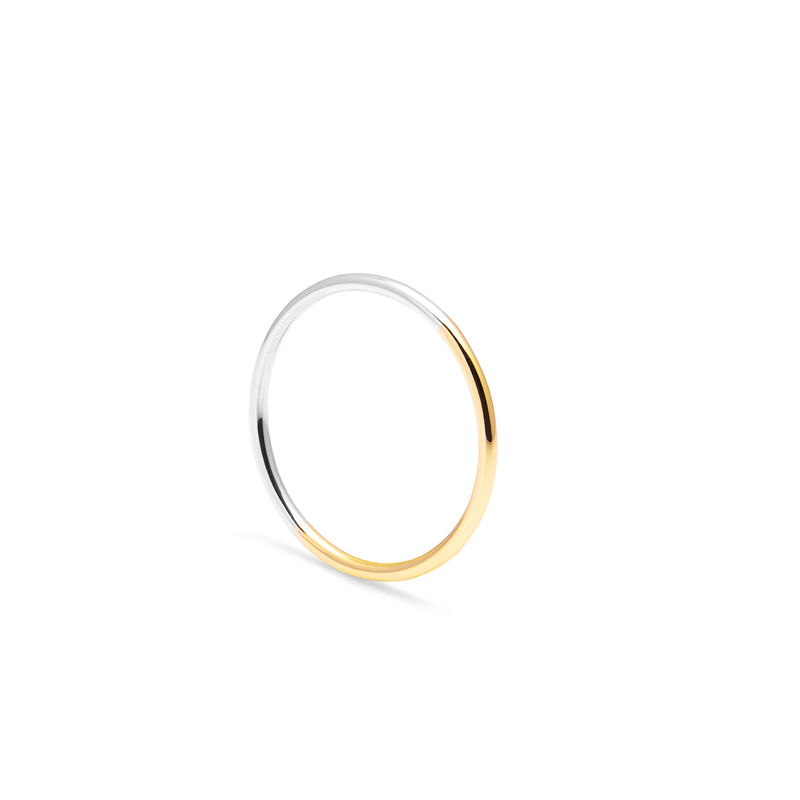 TWO-TONE SKINNY ROUND STACKING RING - YELLOW GOLD - product image