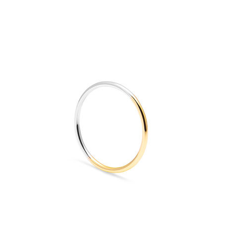 TWO-TONE,SKINNY,ROUND,STACKING,RING,-,YELLOW,GOLD