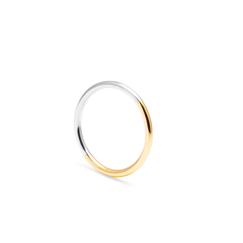 TWO-TONE ROUND RING - YELLOW GOLD - product images  of