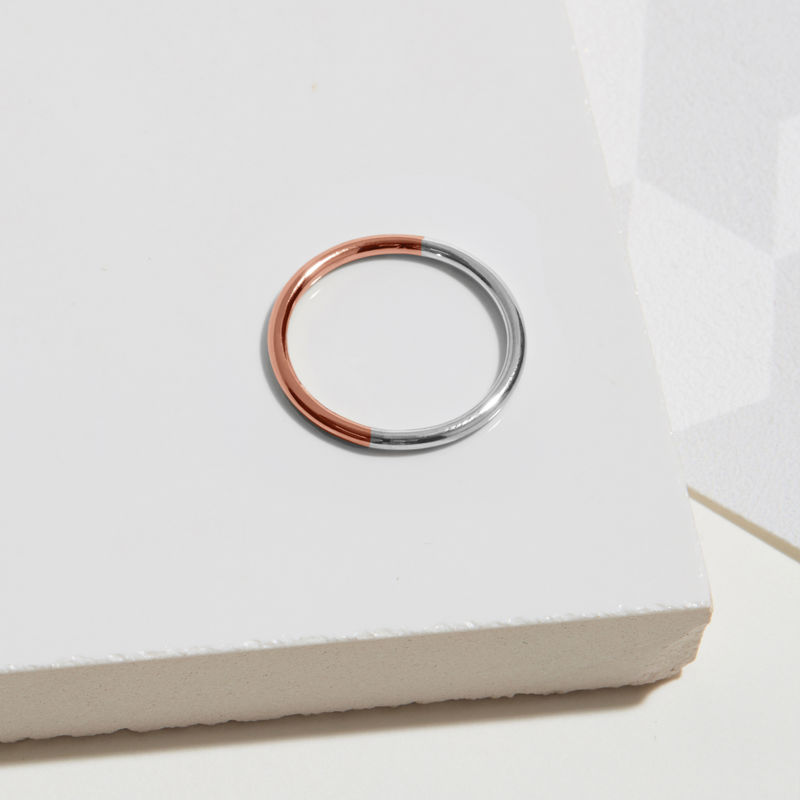 TWO-TONE ROUND RING - ROSE GOLD - product image