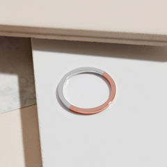 TWO-TONE SQUARE RING - ROSE GOLD - product images  of