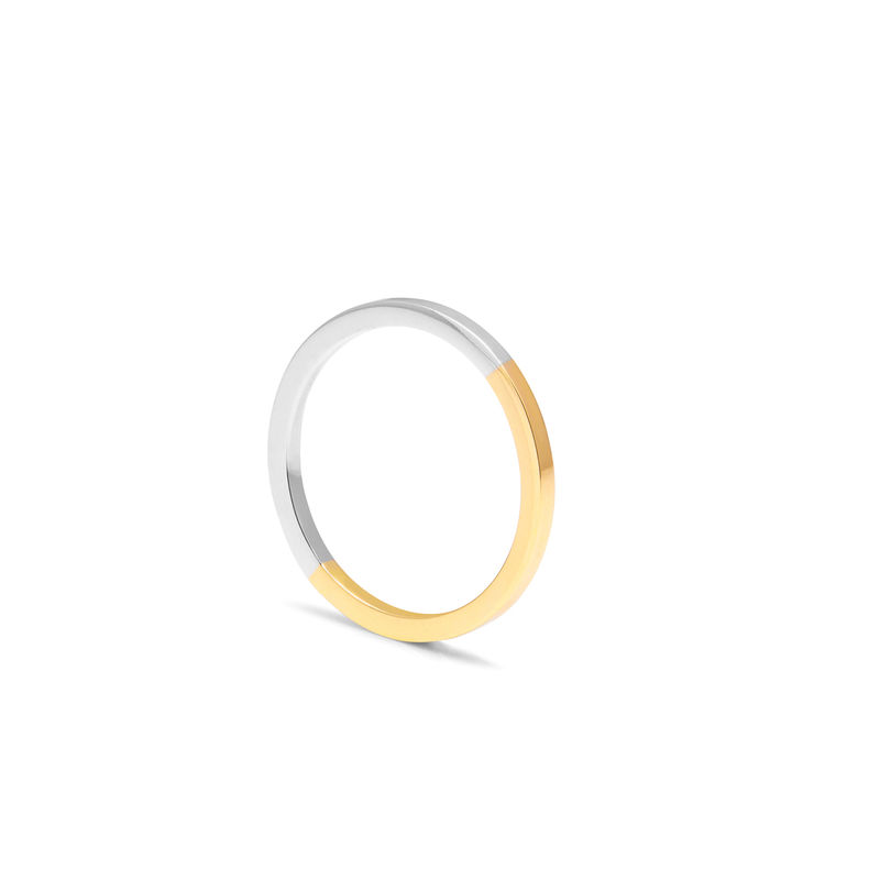 TWO-TONE SQUARE RING - YELLOW GOLD - product images  of