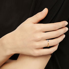 TWO-TONE SQUARE BAND - YELLOW GOLD - product images  of