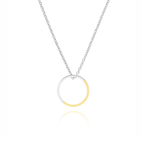 TWO-TONE,CIRCLE,NECKLACE,-,YELLOW,GOLD