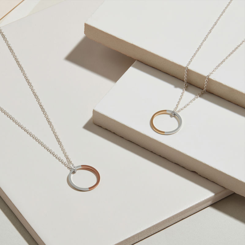 TWO-TONE CIRCLE NECKLACE - YELLOW GOLD - product images  of