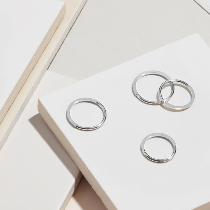 50 ROUND / 50 SQUARE STACKING RING - SILVER - product image