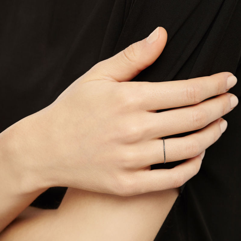 ULTRA SKINNY DIAMOND STACKING RING - BLACK - product images  of