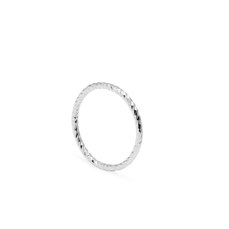 FACETED DIAMOND RING - SILVER - product image
