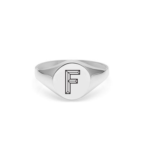 FACETT,INITIAL,F,SIGNET,RING,-,SILVER,Signet ring, Signet, Personalised signet