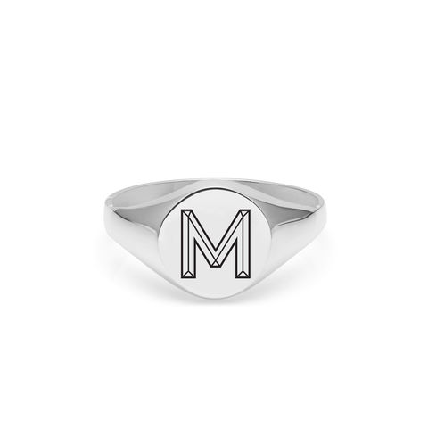 FACETT,INITIAL,M,SIGNET,RING,-,SILVER