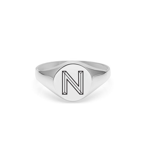 FACETT,INITIAL,N,SIGNET,RING,-,SILVER
