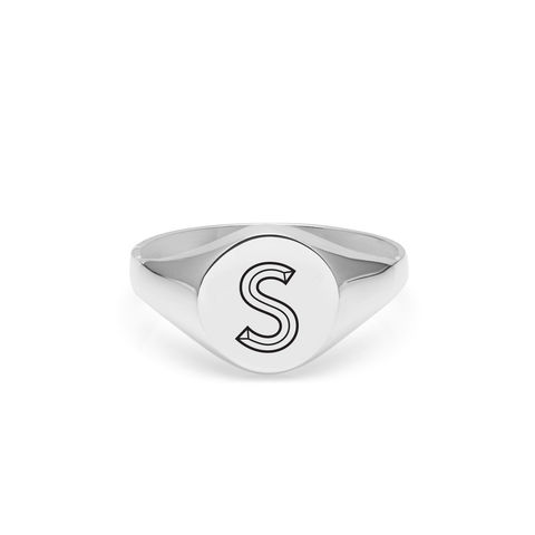 FACETT,INITIAL,S,SIGNET,RING,-,SILVER