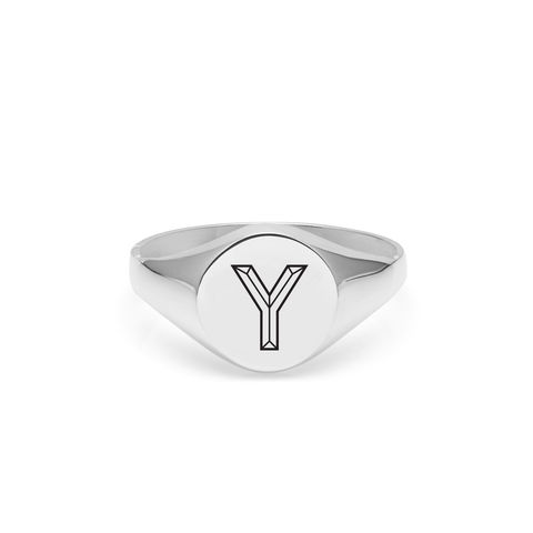 FACETT,INITIAL,Y,SIGNET,RING,-,SILVER