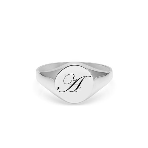 EDWARDIAN,INITIAL,A,SIGNET,RING,-,SILVER