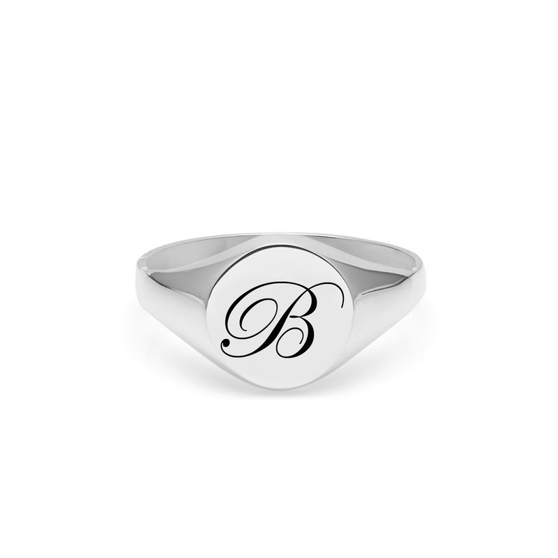 EDWARDIAN INITIAL B SIGNET RING - SILVER - product images  of