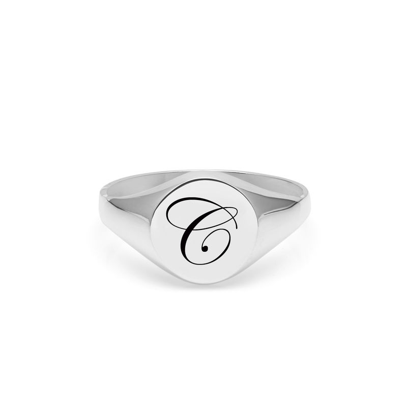 EDWARDIAN INITIAL C SIGNET RING - SILVER - product images  of
