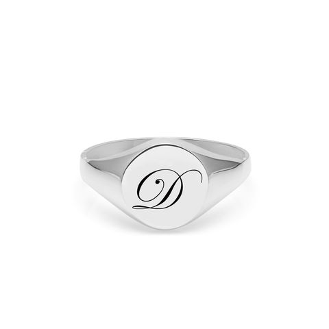 EDWARDIAN,INITIAL,D,SIGNET,RING,-,SILVER