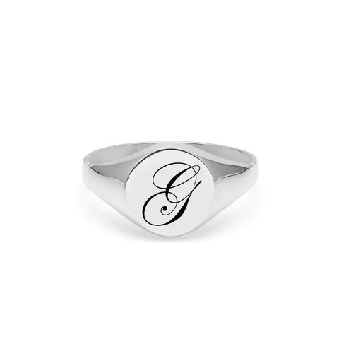 EDWARDIAN,INITIAL,G,SIGNET,RING,-,SILVER