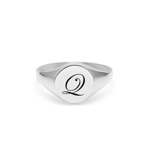 EDWARDIAN,INITIAL,Q,SIGNET,RING,-,SILVER