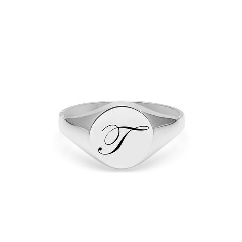 EDWARDIAN,INITIAL,T,SIGNET,RING,-,SILVER